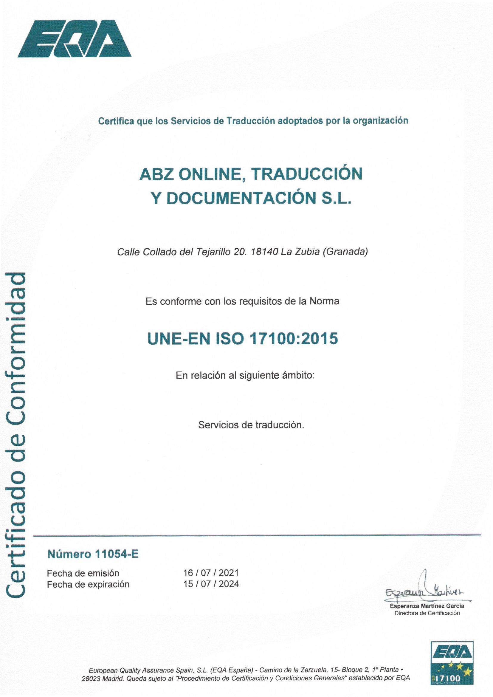 Calidad ISO 17100