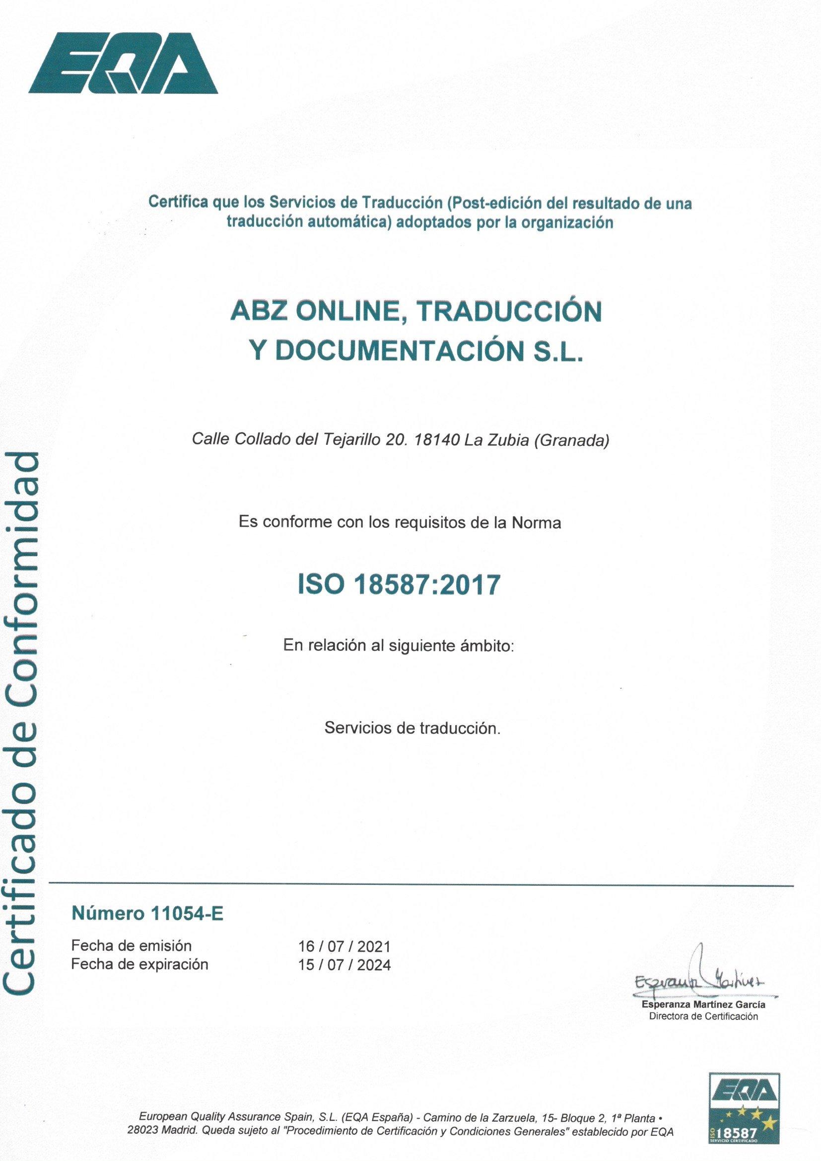 Calidad ISO 18587